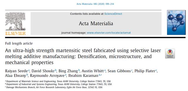 顶刊《Acta Mater》3D打印出迄今为止最高强度1.4GPa超高强度钢